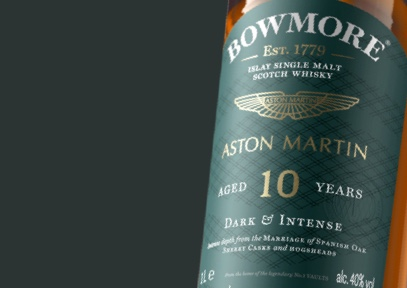 Close up look at label of Bowmore 10year old Whisky