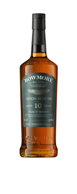 Front view of a bottle of Bowmore 10yr old Whisky, showing details of the label