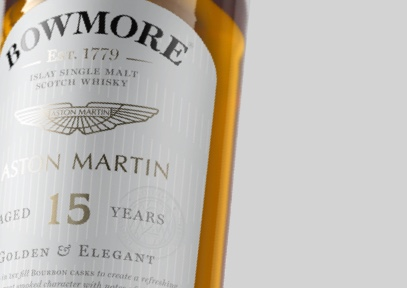 Close up look at label of Bowmore 15year old Whisky
