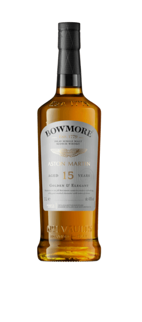 Cropped front view of a bottle of Bowmore 15yr old Whisky, showing details of the label