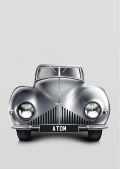 Detail illustration showing front-facing view of left half of Atom concept car