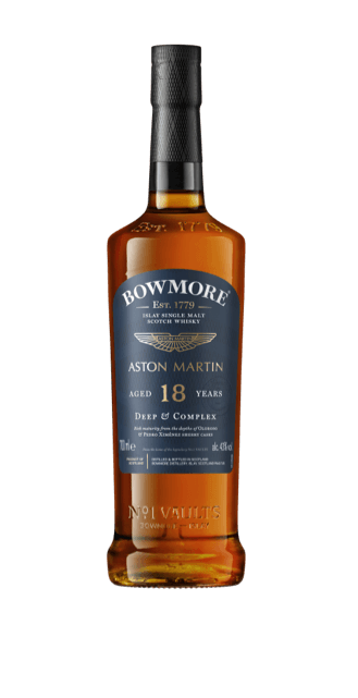 Front view of a bottle of Bowmore 18yr old Whisky, showing details of the label