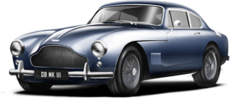 Highly rendered illustration of Aston Martin DB Mk III, showing the front and left sides